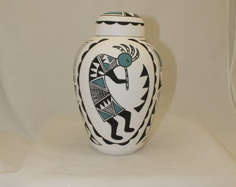 Native American  Urn Ceramic Jar with Lid, Adult Cremation Urn. Large Cremation Urn, Large Urn for Ashes, Art Pottery, Handmade