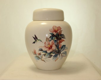 Hummingbird and Peach Hibiscus on Adult Cremation Urn, Ceramic Urn Jar with Lid for human ashes,  Art Pottery Handmade
