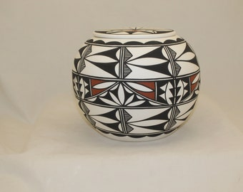 Native American Adult Cremation Urn for Human Ashes, Large Ceramic Jar with Lid, Hand Painted Art Pottery Memorial Urn