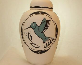 Native American Hummingbird Urn Ceramic Jar with Lid, Adult Cremation Urn. Large Cremation Urn, Large Urn for Ashes, Art Pottery, Handmade