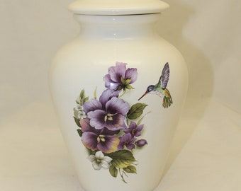 Purple Pansy and Hummingbird Adult Cremation Urn, Human Ashes Urn. large jar with lid, art pottery, handmade