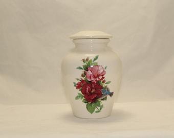 Hummingbird with Hibiscus Cremation Urn,Ceramic Jar with Lid,Small Urn,Small Pet Urn, Small Jar, Small Keepsake Urn, art pottery, handmade