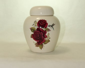 Burgundy Roses and Hummingbird Cremation Urn, Ceramic Jar with Lid Small Urn for Ashes, Keepsake Urn, Art Pottery, handmade