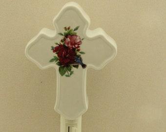 Cross Memorial  Night Light, Hummingbird and Burgundy Hibiscus Porcelain Light, Memorial Remembrance Gift, Wall Plug in Light