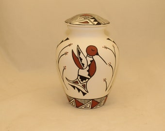 Native American Adult Cremation Urn, Hummingbird Hand Painted Large Cremation Urn, Native American Art Pottery, Handmade Ashes Urn