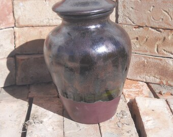 Ceramic Cremation Urn, Black with Metallic Cherry overlay, Urn for Small Adult Jar with Lid, large pet urn, large jar, art pottery, handmade