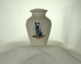 Gray Cat on Ceramic Jar with Lid, Small Cremation Urn, Keepsake Urn, Baby or Infant Urn. Handmade small Pet Urn