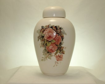 Adult Cremation Urn with Peach Roses, Urn for Human Ashes, Large Ceramic Jar with Lid, Large Ginger Jar, Urns, Art Pottery, Handmade Urn