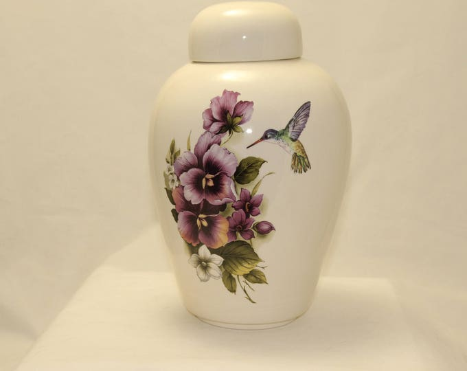 Featured listing image: Cremation Urn, Purple Pansy and Hummingbird, Adult Urn, Ceramic Jar with Lid, Urn for Ashes, large urn, large jar, art pottery, handmade