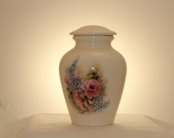 Pink Roses and Forget Me Nots Adult Cremation Urn, Urn for Human Ashes. Large Ginger Jar with Lid, Art Pottery, handmade