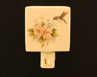 Pink Flower with Hummingbird Porcelain Night Light, Wall Plug-in Memorial Nightlight, Remembrance Gift