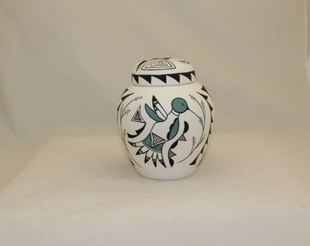 Native American Hand Painted Ceramic Cremation Urn for Ashes, Hummingbird Design Small Urn