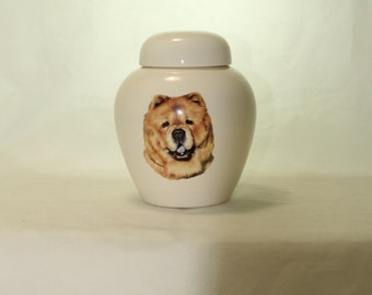 Chow Chow Cremation Urn, Ceramic Jar with Lid, Pet or Dog Small Urn for Ashes, Keepsake Urn, Art Pottery, handmade