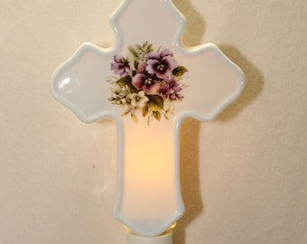 Purple Pansy Memorial Cross Night Light, Remembrance of Loved One, Porcelain Night Light, Memorial Gift