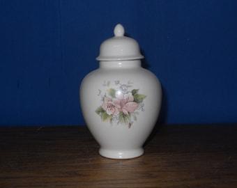 Ceramic jar with lid,urn,Pink Floral Jar with lid,Keepsake urn, Tiny jar, art pottery, handmade