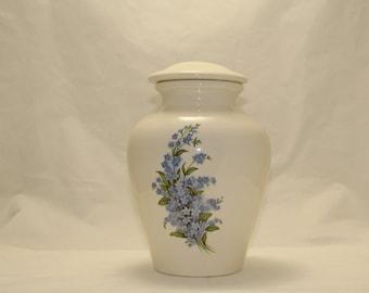 Forget Me Nots Ceramic Jar with Lid Large Cremation Urn,large urn, large jar, art pottery, handmade
