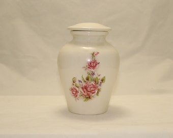 Small Ceramic Jar with Lid, Cremation Urn with Pink Roses, Baby Urn, Infant Urn. Keepsake Urn, Pet Urn for Ashes. art pottery, handmade