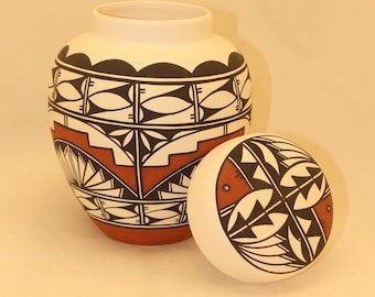 Native American Hand Painted Ceramic Jar with Lid, Adult Cremation Urn, Large Cremation Urn, Human Ashes Urn, Art Pottery, Handmade Urn