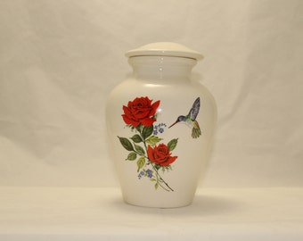 Red Rose and Hummingbird Ceramic Jar with Lid, Medium Cremation Urn, Medium Jar, art pottery, handmade