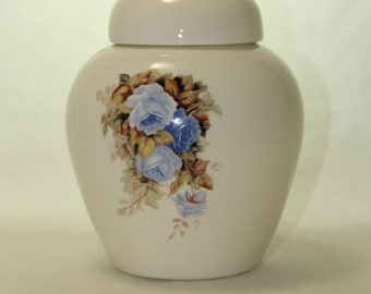 Blue Roses Cremation Urn, Ceramic Jar with Lid, Pet Cat or Dog Small Urn for Ashes, Keepsake Urn, Art Pottery, handmade