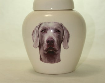 Weimaraner Cremation Urn, Ceramic Jar with Lid, Pet or Dog Small Urn for Ashes, Keepsake Urn, Art Pottery, handmade