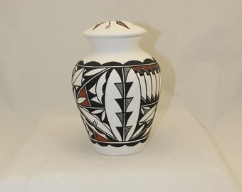 Native American Ceramic Jar with Lid, Adult Cremation Urn, Hand Painted Large Cremation Urn, Native American Art Pottery, Handmade Ashes Urn