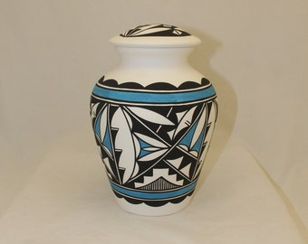 Native American Adult Cremation Urn, Ceramic Jar with Lid, Hand Painted Large Cremation Urn, Native American Art Pottery, Handmade Ashes Urn