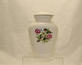 Lily & Hummingbird Ceramic Jar with Lid Small Cremation Urn, Child Urn, Human Ashes Keepsake Urn, Small jar, Art Pottery, Handmade Urn