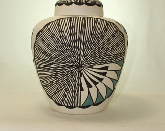 Native American Extra Large Urn for Human Ashes, Extra Large Jar with Lid, Hand Made Pottery Funeral Urn