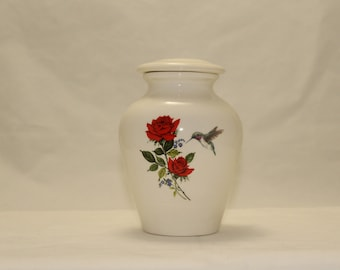 Ceramic Jar with Lid,Hummingbird and Red Rose with Forget Me Nots Cremation Urn, Keepsake Urn, Baby Urn, Infant Urn. Handmade small Pet Urn