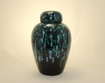 Aqua Teal with Crystals Adult Cremation Urn Ceramic Jar with Lid Large Urn, Large Pet Urn, large jar, art pottery, Handmade Urn for Ashes