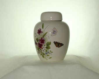 Butterflies and Pansy Ceramic Jar with Lid  Cremation Urn, Baby Urn, Keepsake Urn,  Pet Ashes Urn, Art Pottery, Handmade Urn