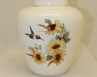 Hummingbird and Sunflowers Adult Cremation Urn for Human Ashes, Extra Large Jar with Lid, Large Funeral Urn, Large Pet Urn, Handmade Urn