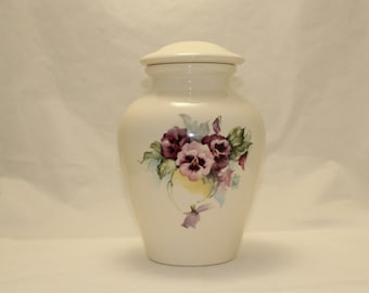 Pansy Ceramic Jar with Lid Large Ceramic Cremation Urn,large urn with Purple Flowers,large jar, art pottery,Handmade Funeral Urn