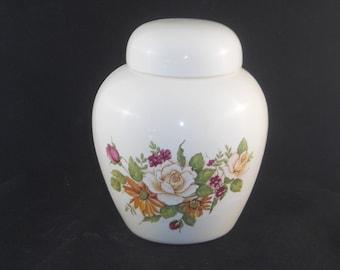 White Rose Cremation Urn, Ceramic jar with lid,urn Jar with lid,  jar, art pottery, handmade