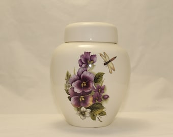 Pansy and Dragonfly Cremation Urn Ceramic Jar with Lid, large or Adult Cremation Urn, Art Pottery, handmade pottery Funeral Urn