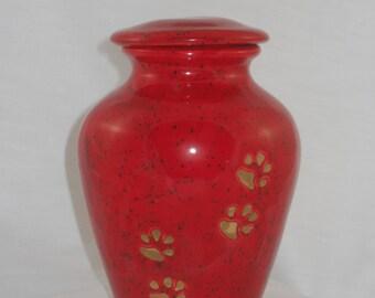TIny Red Cat Urn, Ceramic jar with lid,urn, Jar with lid,Keepsake urn, Tiny jar, art pottery, handmade