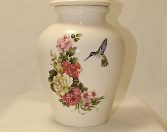 Pink  flowers with Hummingbird Ceramic Jar with Lid, Large Cremation Urn, Adult Urn, Human Ashes Urn. art pottery, handmade