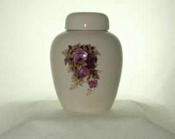 Purple Roses Ceramic Jar with Lid  Cremation Urn, Baby Urn, Keepsake Urn,  Pet Ashes Urn, Art Pottery, Handmade Urn