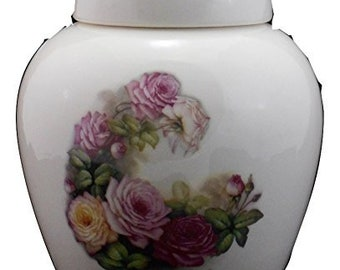 Cremation Urn with Roses, Ceramic Jar with Lid, Pet Cat or Dog Small Urn for Ashes, Keepsake Urn, Art Pottery, handmade