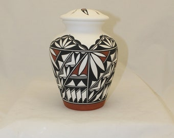 Native American Adult Cremation Urn, Hand Painted Large Container with Lid, Native American Art Pottery, Handmade Ashes Urn