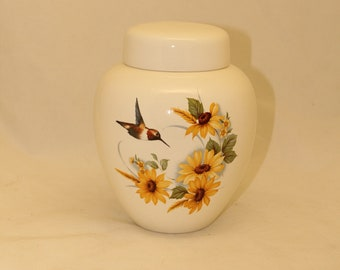 Sunflowers and Hummingbird Adult Cremation Urn, Large Pet Urn, Large Jar for Ashes, Art Pottery Funeral Urn, Handmade Cremation Urn