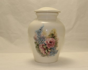 Pink Roses and Forget Me Nots Ceramic Jar with Lid, Medium Cremation Urn, Pet Urn Jar for Ashes, Art Pottery, Handmade Funeral Urn, Dog Urn