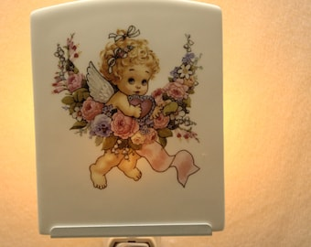 "Baby Angel Memorial Night Light, Baby Girl Keepsake Light, Infant Loss Gift, Porcelain Night Light 3.75"" x 4.5"""