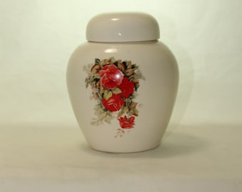 Red Roses Cremation Urn, Ceramic Jar with Lid, Pet Cat or Dog Small Urn for Ashes, Keepsake Urn, Art Pottery, handmade