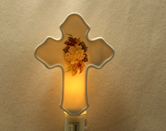 Memorial Night Light with Roses on it, Cross Remembrance Light, Memorial Gift