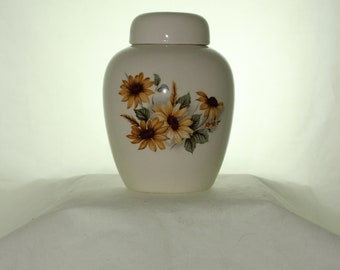 Sunflowers on a Cremation Urn Ceramic Jar with Lid Baby Urn, Keepsake Urn,  Pet Ashes Urn, Art Pottery, Handmade Urn