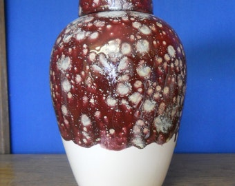 Ceramic Jar with Lid Raspberry and white Large Cremation Urn, large jar, art pottery, Handmade Funeral Urn