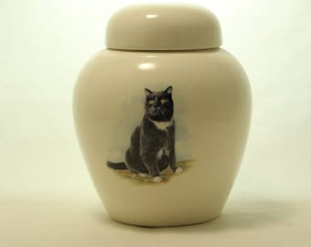 Tuxedo Cat Cremation Urn, Ceramic Jar with Lid, Pet Cat or Dog Small Urn for Ashes, Keepsake Urn, Art Pottery, handmade