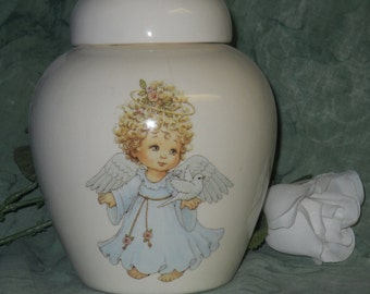 Angel Ceramic Jar with Lid, Baby or Infant Urn  Small Cremation Urn for Ashes, Small Pet Urn, Cat Urn, Dog Urn, Art Pottery, Handmade Urn